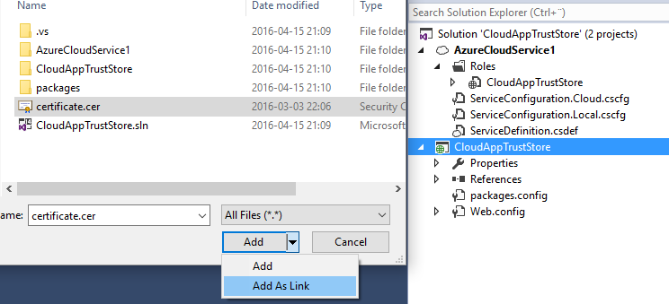 Azure Cloud Service Install Certificate Into Trusted Root